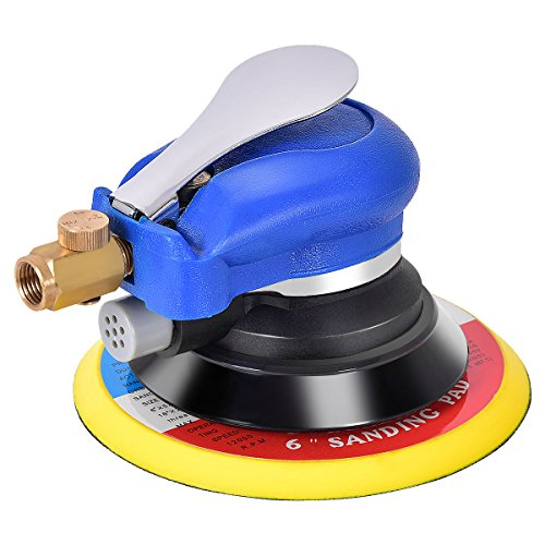 Goplus Air Palm Random Orbital Sander Dual Action Speed Adjustable Pneumatic Polisher Grinding Sanding with Pad (6 inch) -
