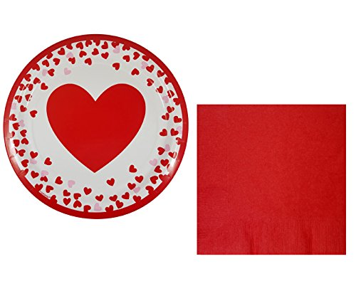 Valentines Day Party Pack for 32 Guests Includes: 32 Red Heart Plates (9 inch) and 50 Large Red Napkins (Bundle of 82 pieces) ()