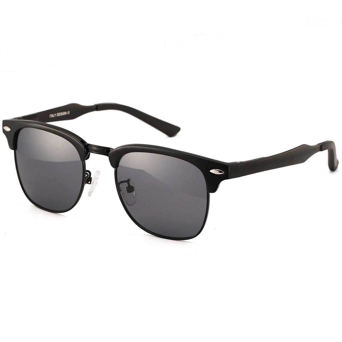 642227b50b9 Amazon.com  Dollger Classic Square Half Frame Sunglasses Mens Black Horn  Rimmed Glasses for UV Eye Protection  Clothing
