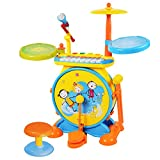 crossed3_Toy store Jazz Drummer Combination drumstick Drum Percussionist Instrument Children's Game A Wonderful Musical Intelligence Toy to Cultivate Brain Consciousness (Yellow)