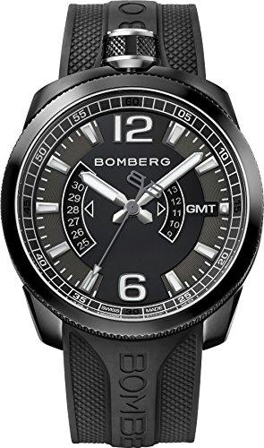 Bomberg bolt-68ゴム製GMTブラックダイヤルメンズ時計bs45gmtpba。005.3 B00O233LE8