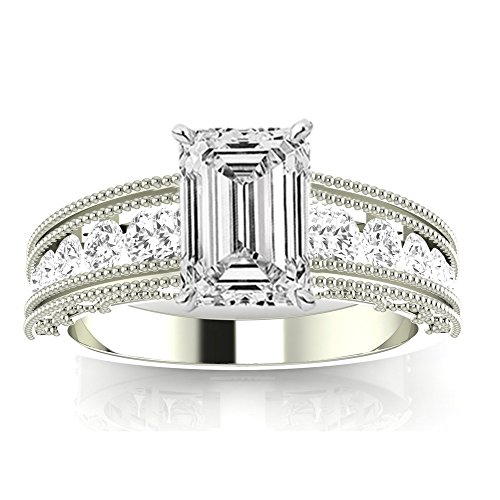 1.35 Ctw 14K White Gold GIA Certified Emerald Cut Antique / Vintage Style Channel Set Round Diamond Engagement Ring with Milgrain, 0.75 Ct I-J VVS1-VVS2 Center