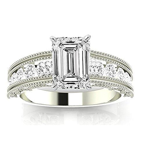 1.35 Ctw 14K White Gold GIA Certified Emerald Cut Antique / Vintage Style Channel Set Round Diamond Engagement Ring with Milgrain, 0.75 Ct I-J VVS1-VVS2 Center