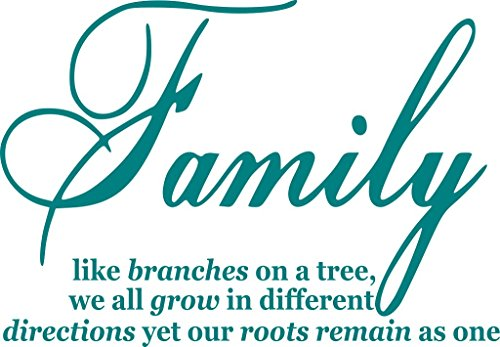 Family Like Branches On A Tree vinyl lettering wall sayings home art decor Teal