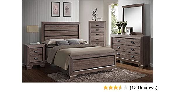 Kings Brand 6-Piece Queen Size Black/Brown Wood Modern Bedroom Furniture  Set, Bed, Dresser, Mirror, Chest & 2 Night Stands