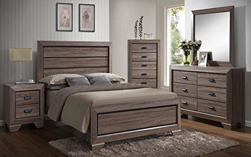 Kings Brand 6-Piece Queen Size Black/Brown Wood Modern Bedroom Furniture Set, Bed, Dresser, Mirror, Chest & 2 Night Stands ()