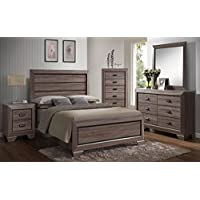 Kings Brand Queen Size Black/Brown Wood Modern Bedroom Furniture Set, Bed, Dresser, Mirror, Chest & 2 Night Stands