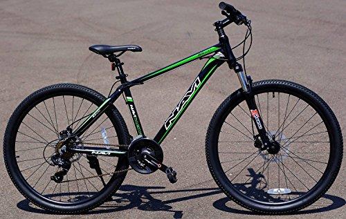 - Navi RS100 Hardtail Mountain Bike (Black/Green), Aluminum Alloy Frame, Shimano Disc Brakes, Shimano Crank Set, Shimano Tourney 21-speed, 27.5