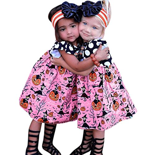 Tsmile Halloween Pumpkin Toddler Kids Baby Girls Outfits Clothes Cartoon Princess Dress Outfits Clothes (80, Pink) -