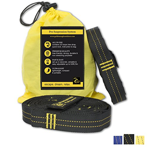 Golden Eagle SPRING SALE Hammock Loop Tree Hanging Straps Set XL Pro – 100% No Stretch Top Rated Best Quality Camping Suspension System Kit Heavy Duty – 23 Loops Each. Length – 118 in For Sale