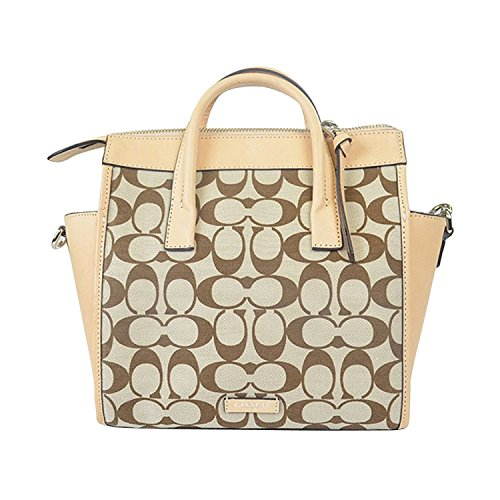 30168 Bleecker Madeira Mini Preston Vachetta in Khaki Fabric; Riley Carryall Silver Printed COACH Signature Light TRUFx