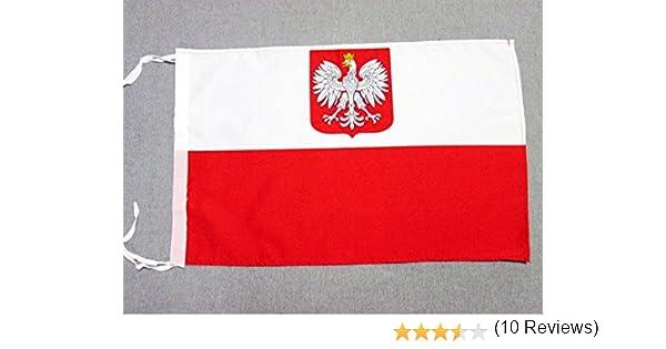 AZ FLAG Bandera de Polonia con Aguila 45x30cm - BANDERINA POLACA con Armas 30 x 45 cm cordeles: Amazon.es: Hogar