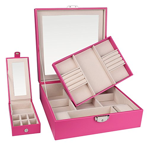 Case Ladies Jewelry (Goldwheat Jewelry Boxes Organizer Watch Case Display Storage Trays Chests with Lock & Mirror Gift for Women Girls (Pink))