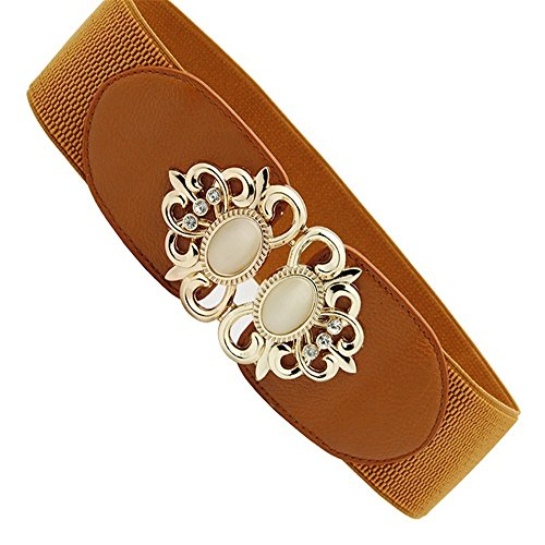 ZHANGYONG Wide Version of Women Waist Seal Female Retro Elastic Belt Skirt Decoration Big Code Belt,(GEM) - Camel Gem
