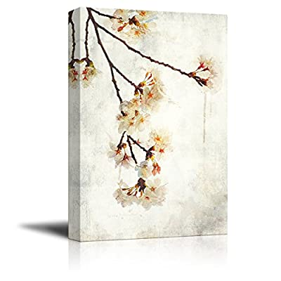 Beautiful Creative Design, Top Quality Design, Watercolor Painting Style White Cherry Blossom on Branch