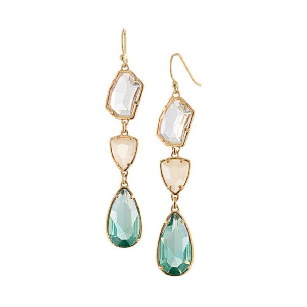 Rose Gold Plated Swarovski Element Green Crystal Waterdrop Shape Dangle Earrings for Women Girls