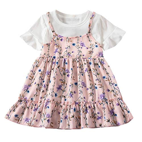 (Toddler Baby Girls Dress, Toddler Baby Kids Girls Fly Sleeve Ruched Floral Flowers Print Dresses Clothes (Pink, 18-24 Months) )
