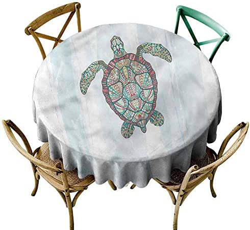 UETECH Modern Round Tablecloth Turtle,Grunge Effect Shell Pattern Wrinkle Free Tablecloths Diameter 50