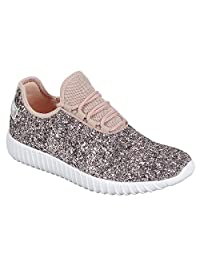 Lace up Rock Glitter Fashion Sneaker w Elastic Tongue & White Outsole