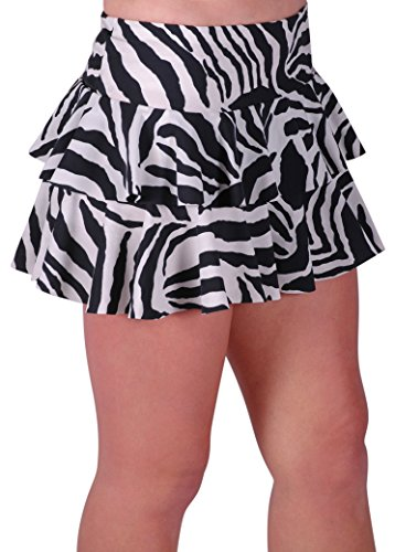 Eye Catch Zebra Print Short Party Womens Girls Ruffle Mini Skirt - BlkWhite - Small