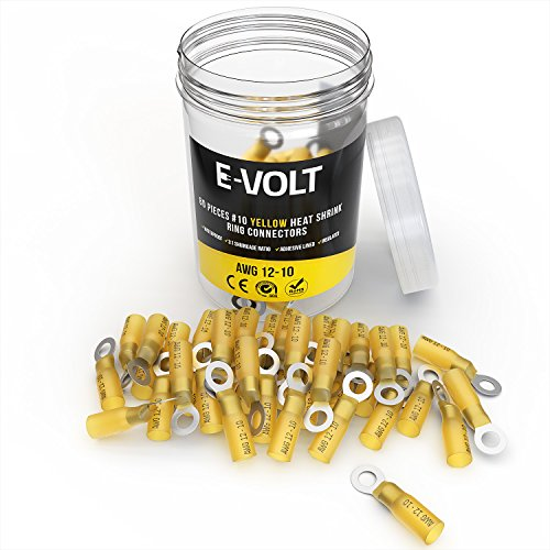 Piece 12 Eyelets (80 PC #10 Yellow Heat Shrink Ring Crimp Connectors: 12 10 Gauge Bulk Electrical Terminals - Insulated 12-10 AWG Automotive, Marine, Audio, and Industrial Grade. Hot Melt Adhesive Eyelet Splice Set)