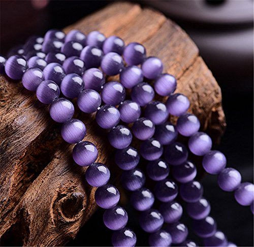 (Mimeier 6-12mm Cat's Eye Round Beads Strands, Purple (006MY) (6mm))