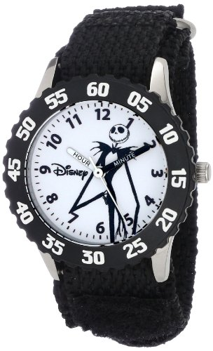 Disney Kids' W000452 Jack Skellington Stainless Steel Time Teacher Black Bezel Black Nylon Strap Watch