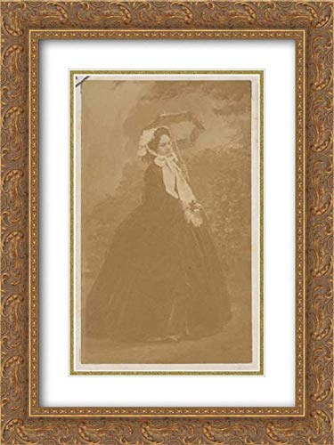 (Andre-Adolphe-Eugene Disderi - 28x40 Gold Ornate Frame and Double Matted Museum Art Print - Le Deux Roses)