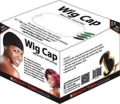 Box Stocking - Beauty Town Wig Cap 200 Pieces Bulk Box (Black)