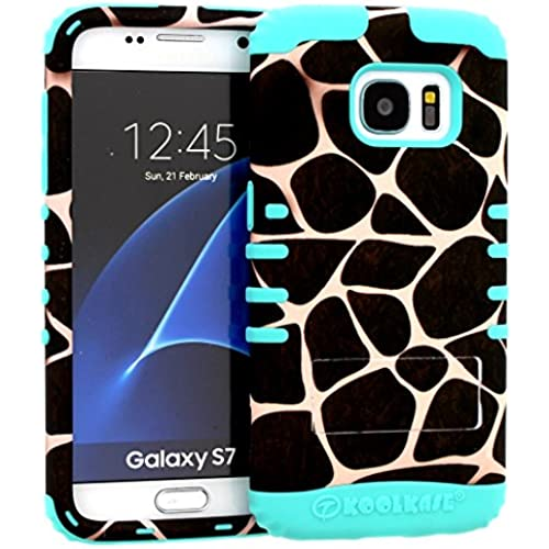 Galaxy S7 Case, Hybrid Heavy Duty Rugged Armor Kickstand Shock Proof Impact Resistant Grip Cover for Samsung Galaxy S7 (Giraffe / B Teal) Sales