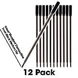 Jaymo - 12 - Black Cross Compatible Ballpoint Pen Refills. Smooth Writing German Ink and 1mm Medium Tip. #8513