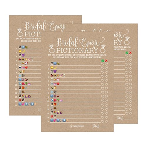 25 Rustic Emoji Pictionary Bridal Shower Games Ideas, Wedding Shower, Bachelorette or Engagement Party For Men and Women Couples, Cute Funny Kit Bundle Set, Coed Adult Game Cards For Bride -
