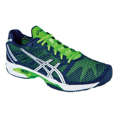 Asics Men's Gel-Solution Speed 2 Clay Tennis Shoe,Navy/Silver/Neon Green,12.5 M US