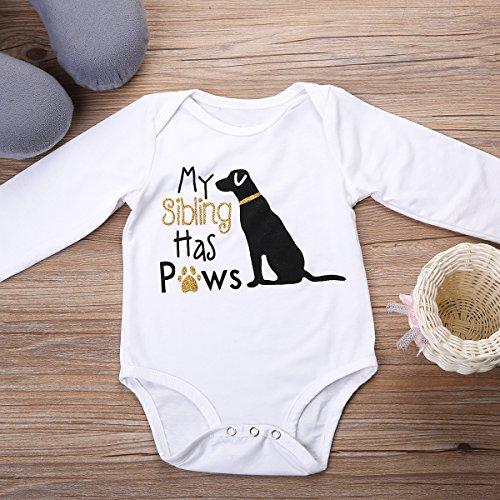 Newborn Baby Girls Boys Letter Print Dog Pattern Romper Short&Long Sleeve Jumpsuits (0-6 Months, Gold Long Sleeve)