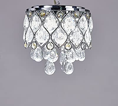 Elizabeth Lighting Flush Mount Crystal Chandelier, Chrome, Diameter 8 inches x Height 8 inches