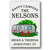 Happy Campers, Retro Trailer Campsite Flag, Customize Your Way, White For Sale