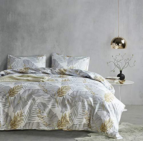 Hyprest Banana Leaf Queen Duvet Cover Set Lightweight Soft White 3PC Comforter Cover Set Hotel Quality with Banana Leaf Design ()