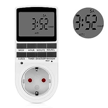 leegoal Temporizador Programador Digital con LCD Pantalla,Enchufe Programable Diario/Semanal,Timer Switch Controlador Eléctrico Ahorrar Energía y Dinero: ...