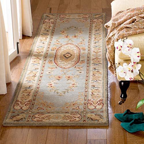 Bergama Runner Rug - Safavieh Bergama Collection BRG174A Handmade Light Blue and Ivory Premium Wool Runner (2'3