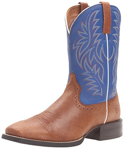 Ariat Men's Sport Western Cowboy Boot, Red Angus Brown/Royal, 10 2E US (Boots Custom Hunting)