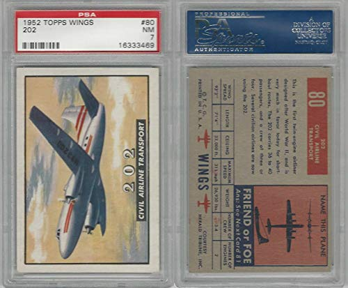 (1952 Topps, Wings, 80 202 Civil Airline Transport Airplane, PSA 7 NM)