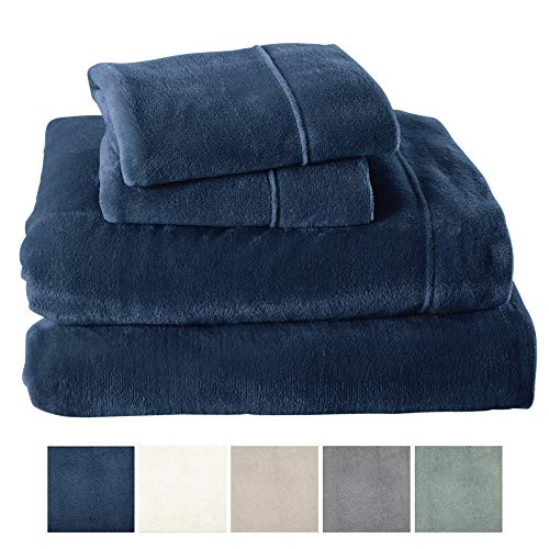Price comparison product image Great Bay Home Extra Soft Cozy Velvet Plush Sheet Set. Deluxe Bed Sheets with Deep Pockets. Velvet Luxe Collection (Queen, Denim Blue)