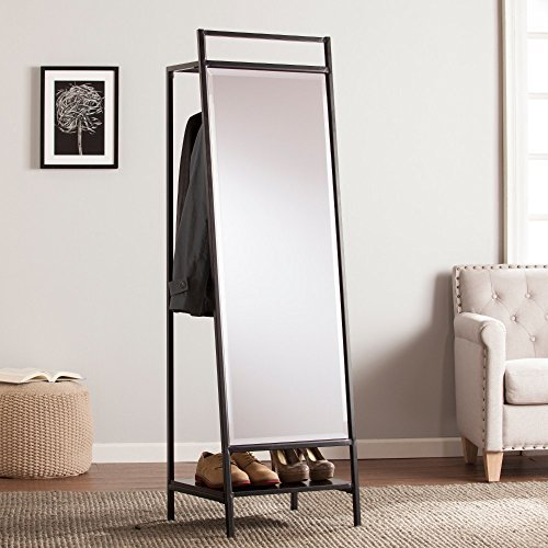 Southern Enterprises Floor Mirror with Hidden Coat (Hidden Mirror Storage)