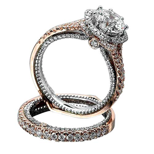 Haluoo Women Rose Gold Plated Engagement Ring Princess Cut Cubic Zirconia Wedding Bridal Band Simulated Diamond Eternity Ring (6, Rose Gold)