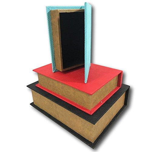 Decorative Nesting Faux Book Storage Box Set of 3 Black Red Blue