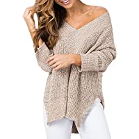 Imily Bela Women's Side-Split V-Neck Crochet Knitted Long Sleeve Loose Sweater Outwear
