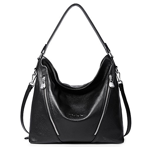 (BOSTANTEN Women Leather Handbag Designer Large Hobo Purses Shoulder Bags Black )
