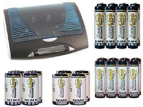 Amazon.com: Super Universal LCD Cargador de batería + 8 AA ...