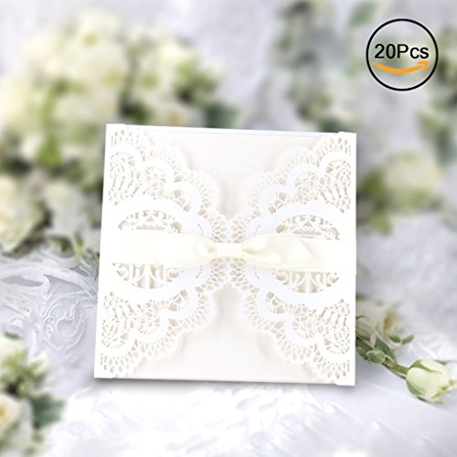 Elegant Invitations Cards Kits, Gospire 20PCs Laser Cut Lace Wedding Party Invitations Cards with Printable Paper and Envelopes for Engagement Wedding Marriage Birthday Bridal Bride Shower Party by Gospire