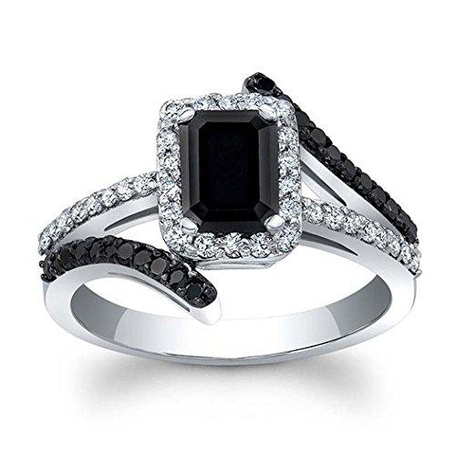 Silvergemking 14K White Gold PL 2Ctw Emerald Cut Sim Black & Round Clear CZ Diamond Halo Engagement Ring (Emerald Ring Sim)